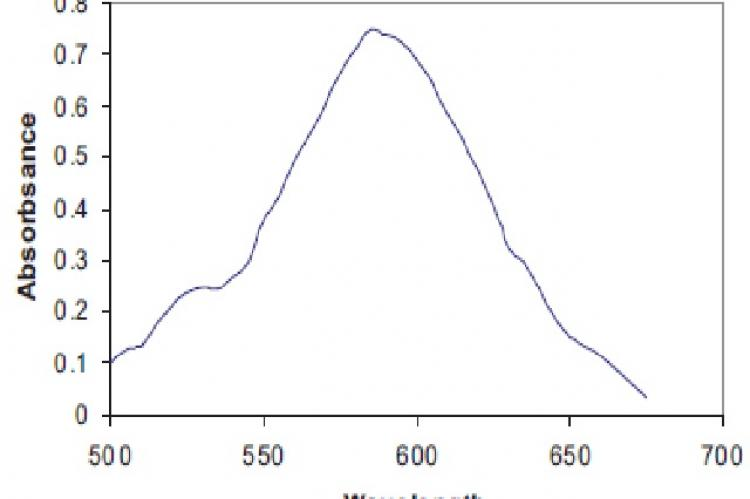 Absorption spectrum of telmisartan with wool fast blue at 585nm (Method A)