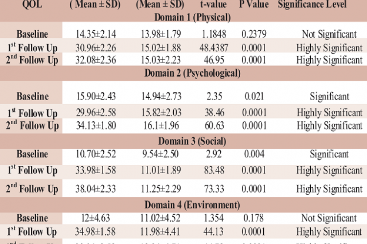 Quality of Life (t-Test) Scores of Intervention and Control Group