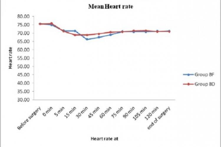 Line diagram showing changing heart rate between group BF and BD throughout the surger